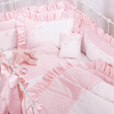 Crib Ensemble in pink Celeste with French Bow & Lullaby