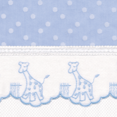 Fabric Sample in blue Celeste with Sailboat & French Ribbon
