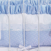 Crib Bumper in blue Celeste with Sailboat & French Ribbon