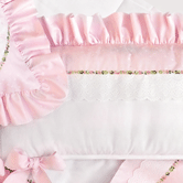 Crib Bumper in pink Celeste & white Primel with Flora & Penelope