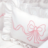 Boudoir Pillow with pink Embroidered Bow