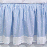 Crib Skirt in blue Celeste with Sailboat & French Ribbon