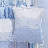 Musical Pillow in blue Celeste with Sailboat & French Ribbon
