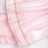 Crib Skirt in pink Celeste with Flora & Penelope