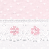 Fabric Sample in pink & white Celeste with Blossom & French Ribbon