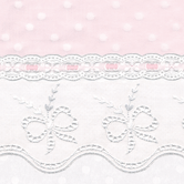 Fabric Sample for pink & white baby girl bedding in Celeste with Butterfly Bow & Lullaby