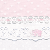 Fabric Sample for pink & white baby girl bedding in Celeste with Elephant & Lullaby