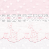 Fabric Sample in pink & white Celeste with Giraffe & Lullaby