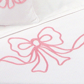 Coverlet with pink Embroidered Bow