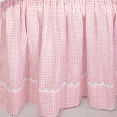 Crib Skirt in pink Hopper with Ric Rac