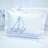 Boudoir Pillow with Embroidered Sailboat
