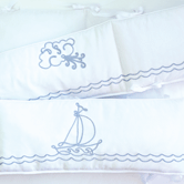 Crib Bumper with Embroidered Sailboat