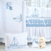 Crib Ensemble with Embroidered Sailboat