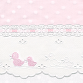 Fabric Sample for pink & white baby girl bedding in Celeste with Duckling & Lullaby
