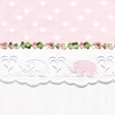 Fabric Sample in pink Celeste & white Primel with Flora & Elephant