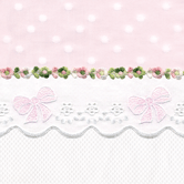 Fabric Sample in pink Celeste & white Primel with Flora & French Bow