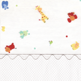 Fabric Sample in Little Zoo & white Primel with white Ric Rac
