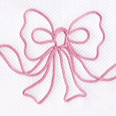 Fabric Sample in pink Embroidered Bow