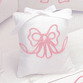 Musical Pillow with pink Embroidered Bow