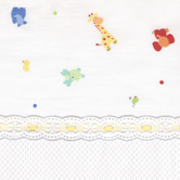 Fabric Sample in Little Zoo & Primel with Lullaby & yellow ribbon