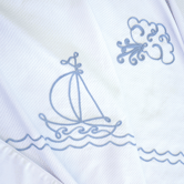 Coverlet with Embroidered Sailboat
