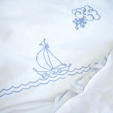Duvet Cover with Embroidered Sailboat