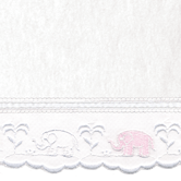 Fabric Sample in Polartec Blanket with pink Elephant & French Ribbon