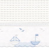 Fabric Sample in Waffleweave Blanket with Boat & French Ribbon