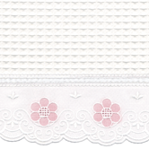 Fabric Sample in Waffleweave Blanket with pink Blossom & French Ribbon
